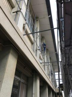 京都市内/学校体育館屋根改修足場